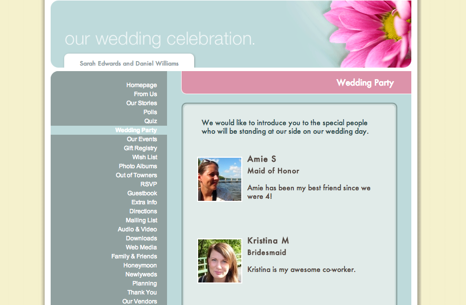 Wedding Party on Website