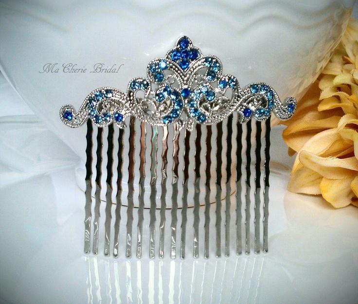 Blue Bridal Hair Comb