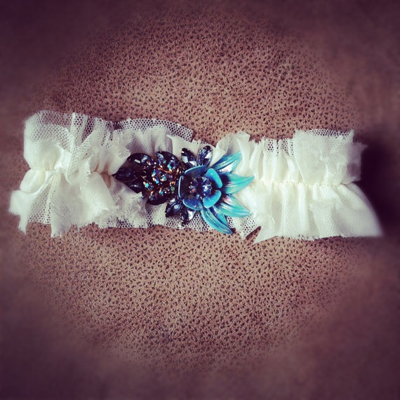 Vintage Wedding Garter with Blue
