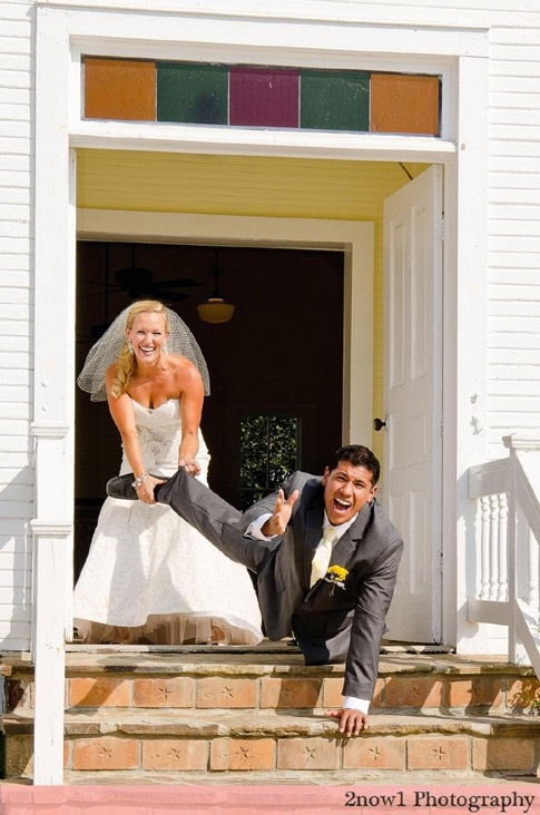 Funny Groom Getting Away Photo