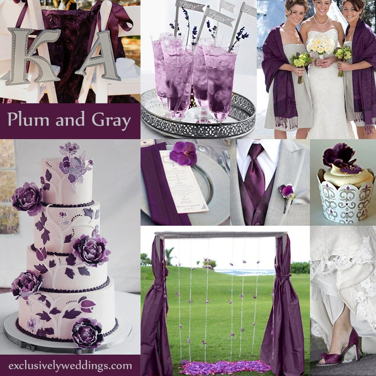 Tips for coordinating your wedding colors ewedding photo source exclusivelyweddings plum and gray wedding colors junglespirit Image collections