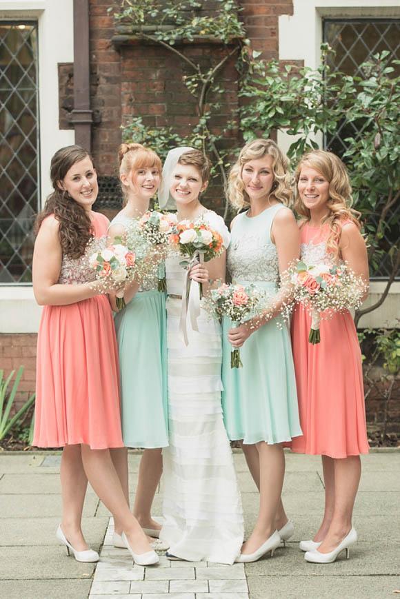Aqua and Coral Bridesmaid Dresses