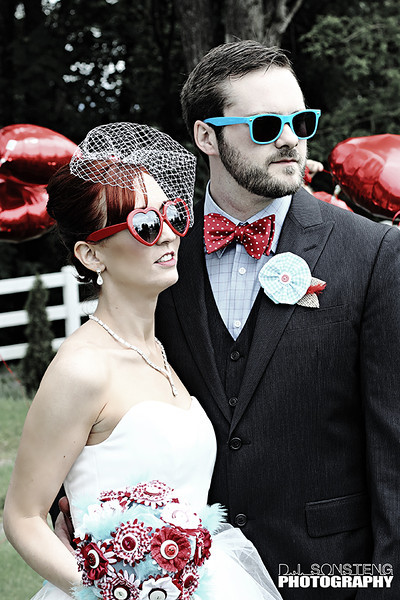 Fun Props Wedding Photo