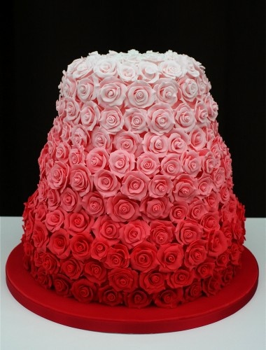 Rose Ombre Wedding Cake