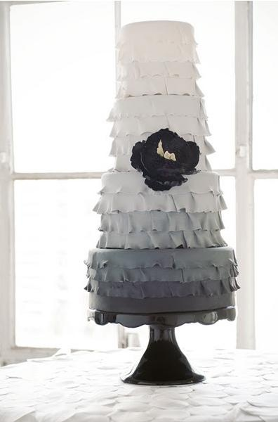Modern Ruffled Ombre Wedding Cake