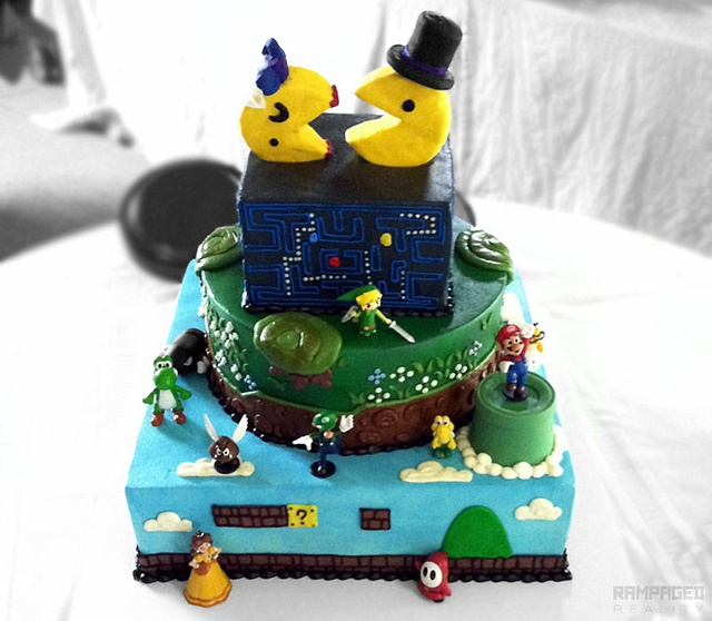 Mr. and Mrs. Pacman Cake and Topper