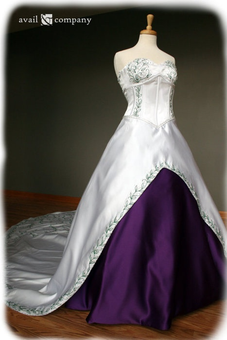 White and Purple Wedding Dress with Green Leaf Details