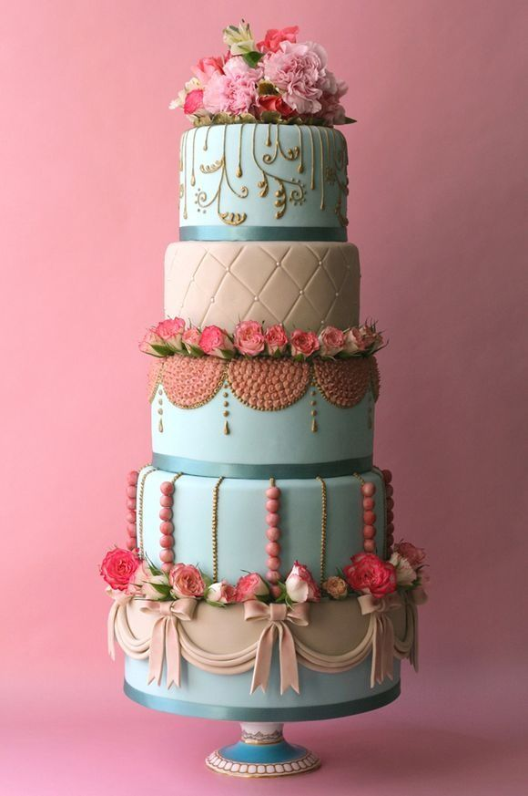 pink and blue boho wedding cake