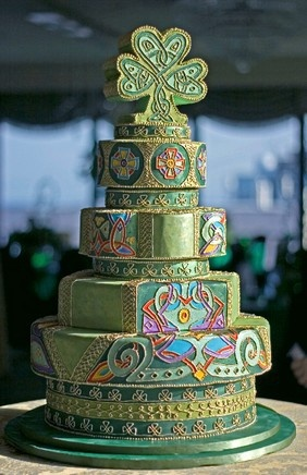 shamrock, irish, celtic wedding cake