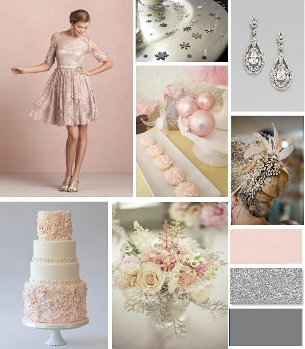 Blush Pink, Silver and Gray Color Scheme