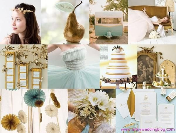 Gold, Teal and Ivory Wedding Colors
