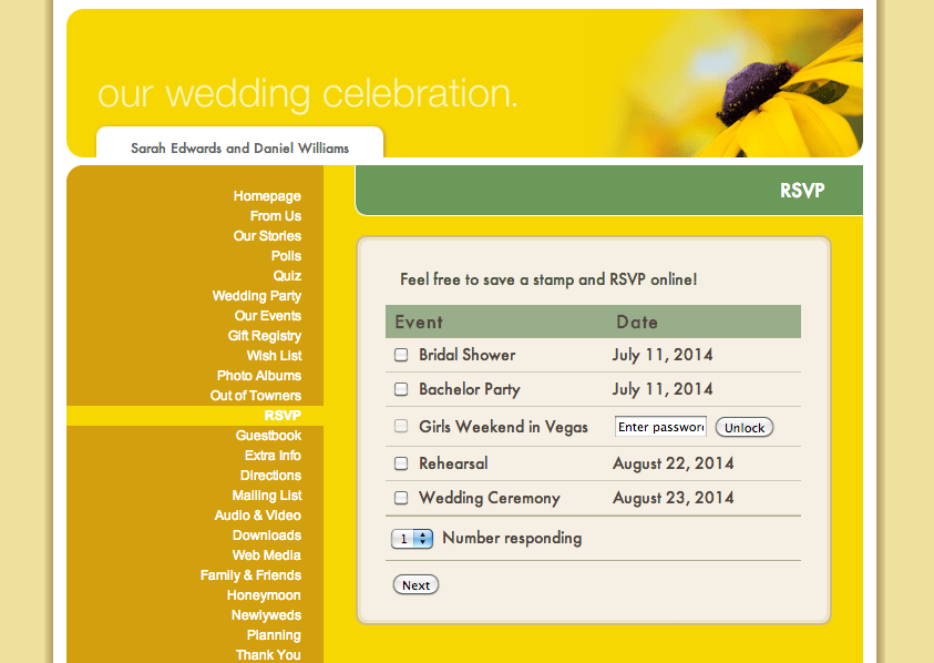 RSVP on Wedding Website