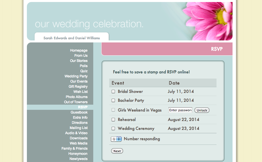 Wedding Website RSVP
