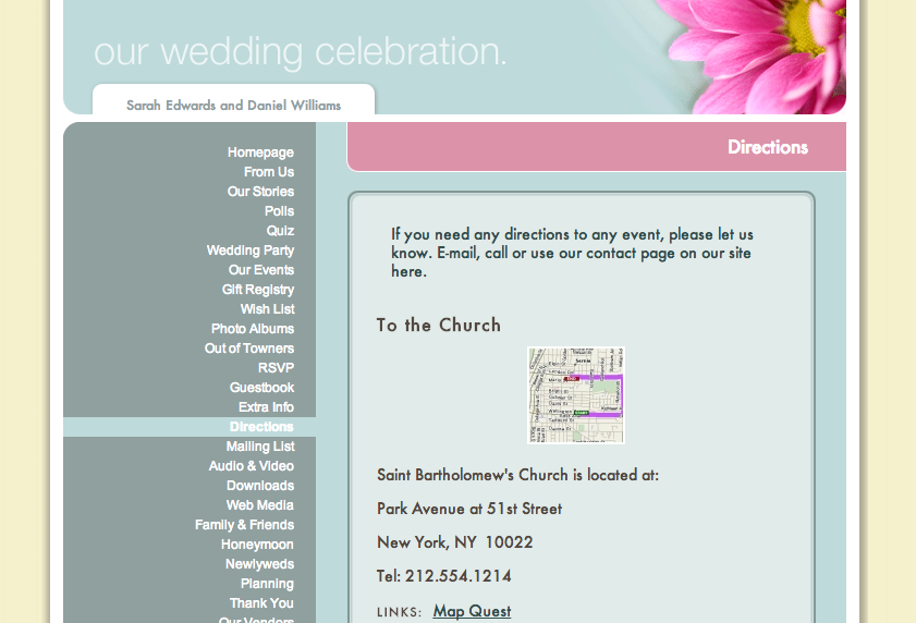 Wedding Website Maps