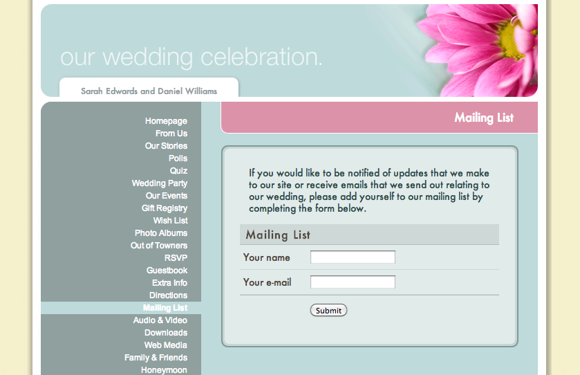Wedding Website Mailing List