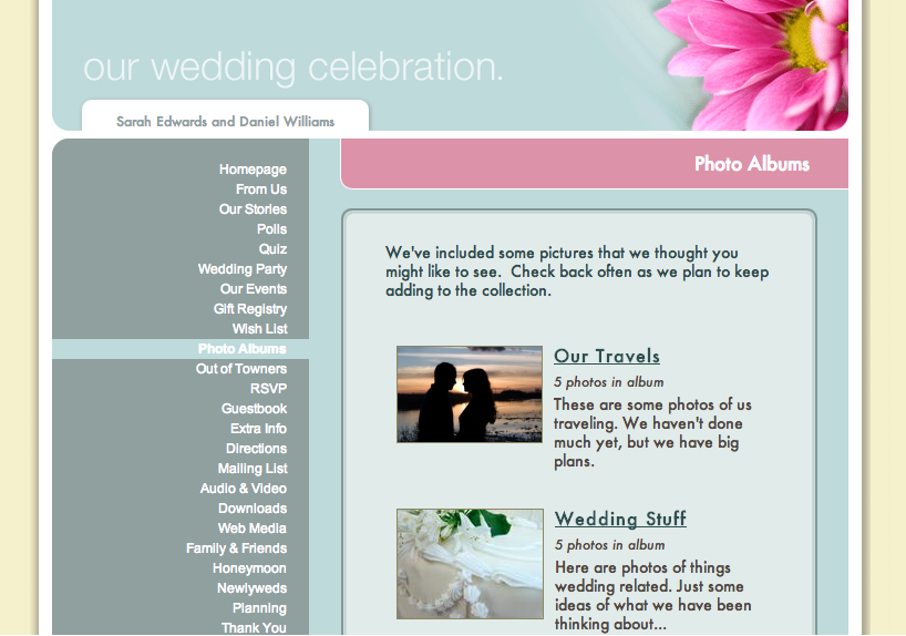 Wedding Website Photo Albums
