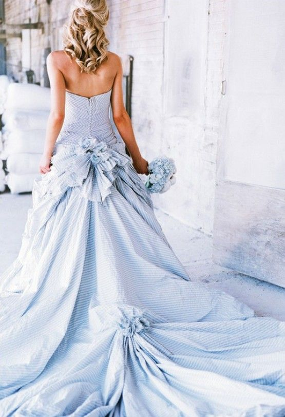 Blue Stripe Wedding Dress