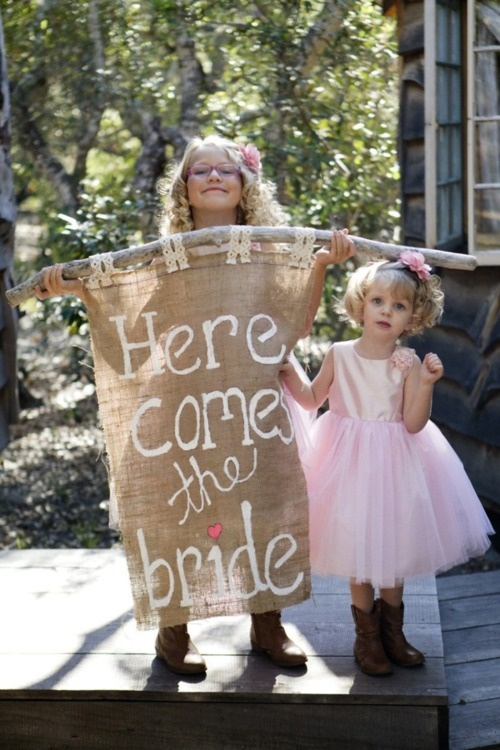 Flower Girls with Banner
