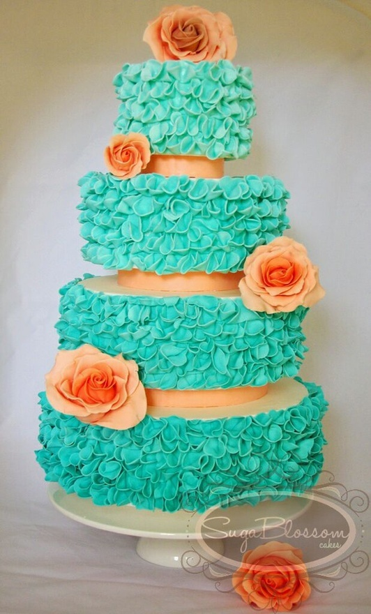 peach and light blue wedding cake wedding color palette citrus and aqua ewedding 18131